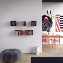 Mensola Design Cubo da Parete Square Nera composizone larga