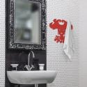 Appendiabiti da parete in metallo verniciato Rosso Misure 50x52x0,5 cm