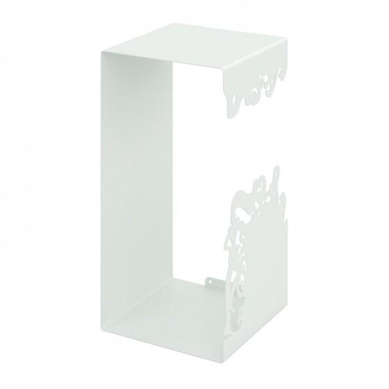 Mesola Cubo con struttura interamente in metallo verniciato Bianco Misure 25x50x25 cm.