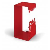 Mesola Cubo con struttura interamente in metallo verniciato Rosso Misure 25x50x25 cm.