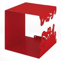 Mesola Cubo con struttura interamente in metallo verniciato Rosso Misure 25x25x25 cm.