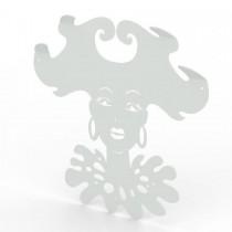 Appendiabiti da parete con 4 ganci in metallo verniciato di bianco 50x52x0,5 cm