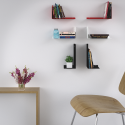 Mensola design Birdy SX nera in metallo da parete - Ambientata